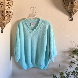 🧚♂️VTG aqua blue knit popover